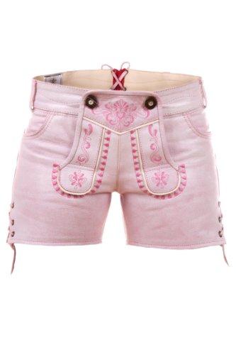 Highlight! Sexy Damen Trachten Ledershorts Pink Princess aus weichem Rindleder, Rosa, 40