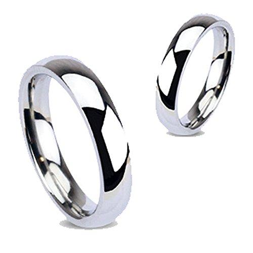 Anello in acciaio inossidabile argentato, lucidato a specchio, Larghezza: 4 mm, Taglia da 48 a 69, Unisex e Acciaio inossidabile, 16, cod. R001-4-08