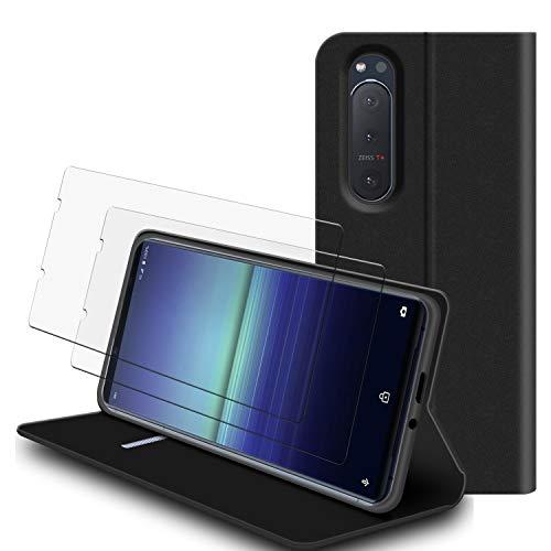 SHINEZONE Handyhülle für Sony Xperia 5 II Hülle + [2 Stück] Panzerglas Schutzfolie, Premium Leder Flip Hülle Schutzhülle mit [Kartenfach] [Standfunktion] [Magnetverschluss] für Xperia 5 II (Schwarz)