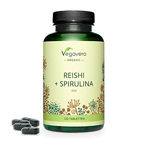 Spiruline BIO + Reishi BIO Vegavero® | Qualité Supérieure & Sans Additifs | Avec 40% de Polysaccharides, 30% de Bêta-glucanes et 1% de Triterpènes | Énergie + Immunité | 120 Comprimés | VEGAN