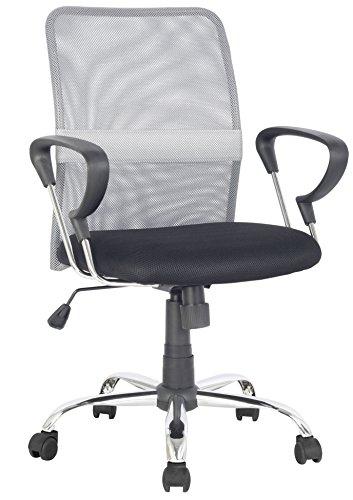 SixBros. Bürostuhl, Schreibtischstuhl zum Drehen, Drehstuhl für's Büro oder Home-Office, stufenlos höhenverstellbar, Netzstoff Mesh, grau/schwarz H-8078F-2/2060