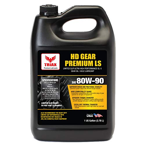 Triax HD Gear Premium LS 80W-90, GL-5 Limited Slip Ready, Manual Transmissions, Hypoid Gear Systems, Differentials, NATO Military Approved, Widest OEM Specification Range (1 Gallon)