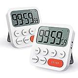 Photo Gallery liorque 2pz digitale timer da cucina, timer multifunzione con funzione orologio, regolazione rapida, 3 livelli di volume, schienale magnetico, supporto pieghevole (batterie aaa incluse)