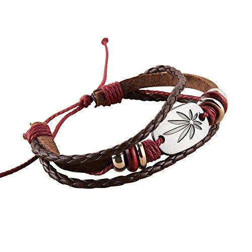 NovaLuna - Bracelet surfeur réglable en continu 'Dreamz' en simili cuir marron avec fermoir - Homme Femme Unisexe Bracelet Accessoire Bijoux Reggae Rasta Marron