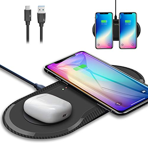 FOHOMAGA Dual Wireless Charger, 15W Fast Qi Dual Wireless Charging Pad, Portable Desk Double Wireless Charger Pad Compatible with 12 Pro Max/12 Mini/11/11 Pro Max/Se/8/8 Plus/Airpods Pro/2, Black