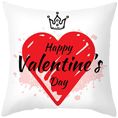 HINK Funda de Almohada de algodón para el día de San Valentín Funda de cojín de Cintura para sofá...