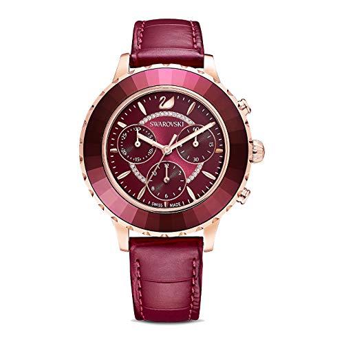 Swarovski OCTEA LUX 5547642 - Reloj cronógrafo con correa de piel, color rojo