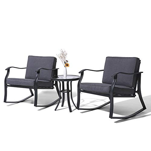 Crestlive Products 3 PCS Patio Bistro Set Outdoor Rocking Chairs and Glass-Top Coffee Table Outdoor All-Weather Conversation Set with Thickened Cushions (Gray)
