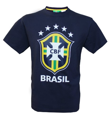 Seleçao Brasil – Maglietta collezione ufficiale squadra di calcio del Brasile – dimensioni per adulto, Uomo, Uomo, Bleu Marine, XL