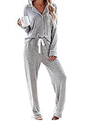 Womens Long Sleeve Solid Color Pyjama Set Loungewear Made of soft fabric, keeping you feeling cosy and snug Top: Full button-front closure, rounded notched collar Trousers: wide elastic waistband, 2 sides pockets This classic pyjamas is also a great ...
