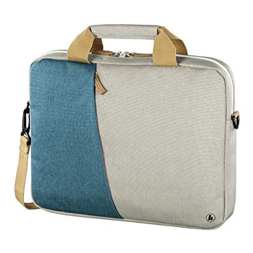 Hama Laptoptasche 44 cm, 17,3 Zoll (gepolsterte Umhängetasche mit Tragegurt und Handgriff, Schultertasche für Damen und Herren, Aktentasche mit Platz für Zubehör) grau, türkis