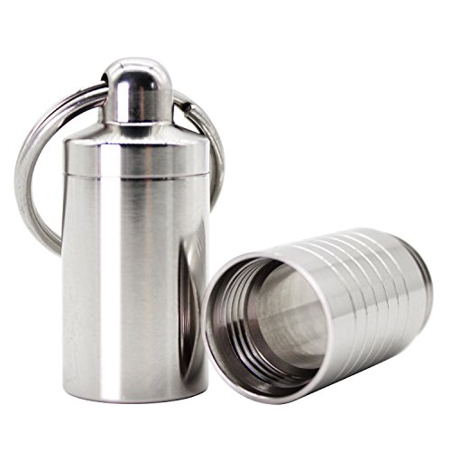 PPFISH Pill Holder Keychain - Compact Stainless Steel Nitro Pill Fob - Adjustable Length Design Waterproof Pill Case Container for Traveling