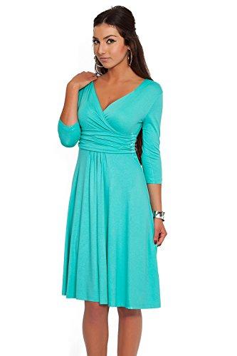 FUTURO FASHION - Damen Kleid für Cocktailpartys & Arbeit - V-Ausschnitt - klassisch und elegant - Jersey - F4F40 - Aquablau - 40 (L)