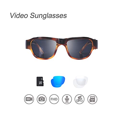 OHO Video Sunglasses, 32GB Ultra HD Outdoor Sports Action Camera with Built in 16MP Camera and Polarized UV400 Protection Safety Lens (Turtle-1)