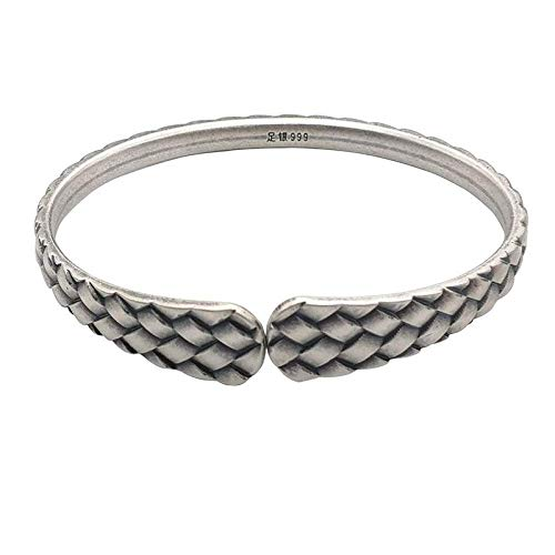YBB-YB LXX-LX S925 Ladies Vintage Silver Bracelet Matte Weave Creative Carving Temperament Personality Gift Chinese Classic