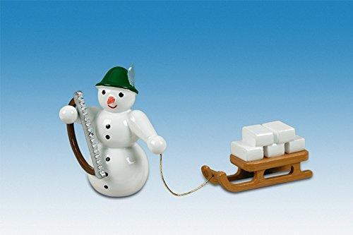 Holzfigur Weihnachtsfigur Schneemann Iglubauer mit Schlitten Höhe ca 6,5 cm NEU