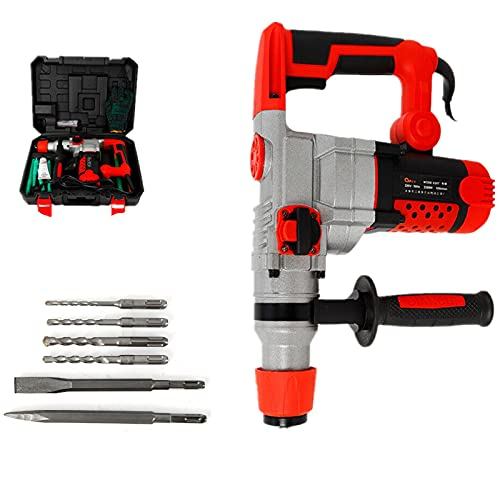 Rotary Hammer Drill 2200W Hammer Drilling Chiseling Electric Demolition Jack Hammer Concrete Drill Breaker Chisels Kit 0-930 r/min
