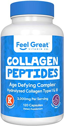 Hydrolyzed Collagen Peptides Powder Capsules (Type I &III) by Feel Great Vitamin Co. | Wheat Free, Keto & Paleo Friendly | Collagen Powder Supplement for Hair, Skin and Nails*