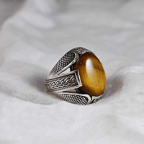 Natural Ring, Tiger Eye Ring, 925 Sterling Silver, Men's Ring, Gemstone, Tiger Eye Boys, Celtic Design, Signet Ring, Anniversary Ring