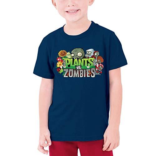Unisex Novelty Plants Vs. Zombies Youth Shirts Boys Girls Fashion Cartoon Printed Casual T-Shirt Navy L