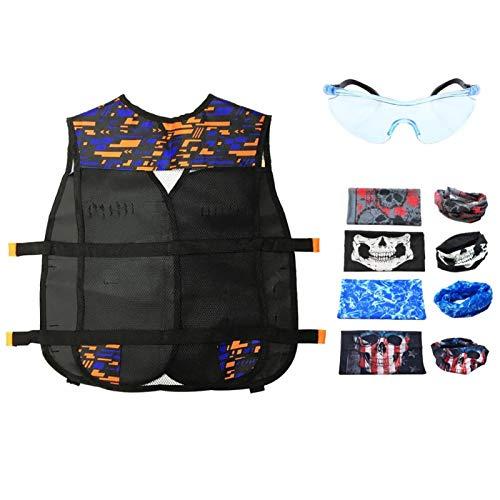 Jingyig Chaleco de Juego, Chaleco para niños, Cartucho Negro Resistente al Desgaste, Actividades al Aire Libre para Juegos tácticos, Cosplay(Double Shoulder Pattern Vest)