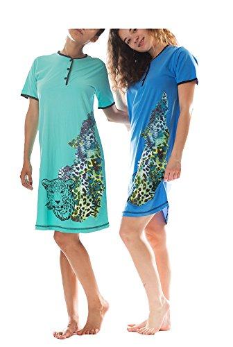 Consult-Tex Damen Kurzarm Nachthemd 2 Stück Packung DF058, 100% Baumwolle Jersey, Gr.: 36/38