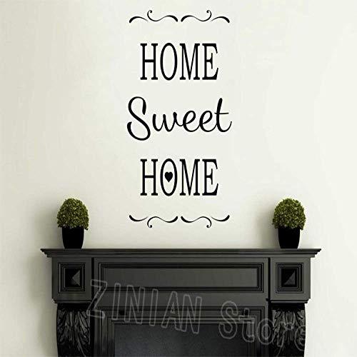 Sweet Home Wall Sticker Vinilo Letras Palabra Puerta Principal O Wall Art Sticker Sala De Estar Entrada Decoración Negro 56X87Cm