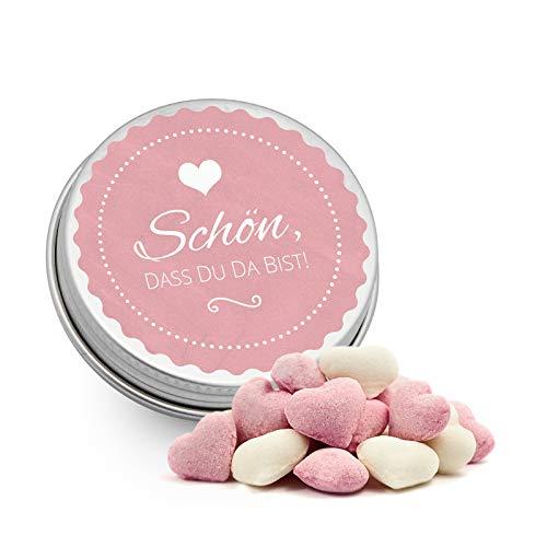 DeinBonbon 20x Gastgeschenk Mini Dose DIY Süßigkeiten und Stickerbogen   Hochzeit, Geburtstag, Taufe & Kommunion (Altrosa, Himbeer Joghurt Herzen Bonbons)
