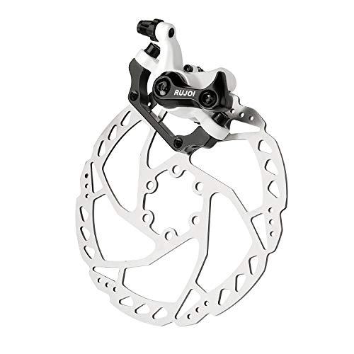 RUJOI Bike Disc Brake Kit, Aluminum Rear Caliper, Full Aluminum Alloy Bicycle Brake Lever, 160mm Rotor, Mechanic Tool-Free Pad Adjuster for Road Bike, Mountain Bike (1 Set)