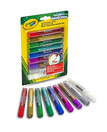 Crayola - Colle Glitter in tubetto, lavabili, 9 colori assortiti,...