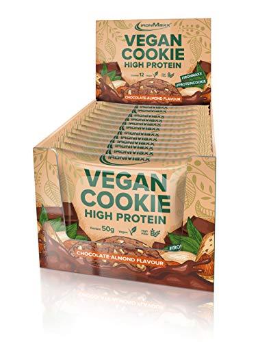IronMaxx Cookie - Chocolate Almond - Box mit 12 Stück à 50g - Ballastroffreicher Protein-Vegan-Keks für IronMaxx geeignet - High Protein Cookie - Idealer Snack für unterwegs