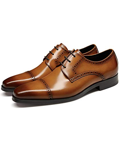 GIFENNSE Men's Dress Shoes Classic Calfskin Leather Wedding Oxford Formal Shoes Brown 8.5