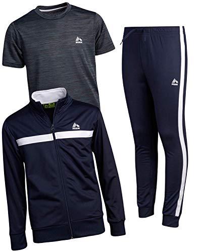 RBX Boy's Activewear Tracksuit Set - Zip-Up Performance Sweatshirt, Jogger Sweatpants, and T-Shirt, Size 8, Midnight Navy