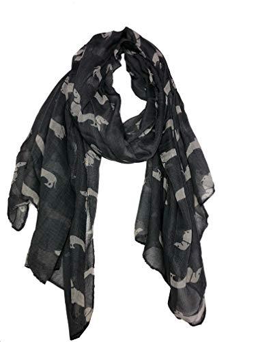 Grau mit weißen Dackel langen Schal, weich Damenmode London (Grey with white sausage dogs long Scarf, Soft Ladies Fashion London)