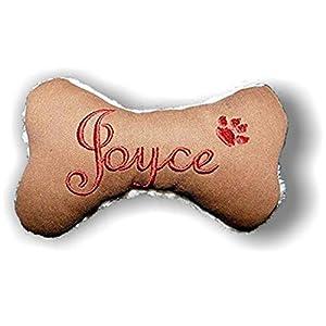 Hunde Spielzeug Kissen Knochen Hundeknochen Quitscher cognac braun mit Name Wunschname Größe XXS XS S