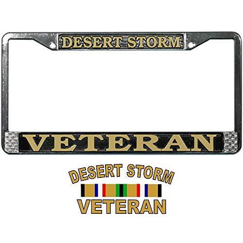 Desert Storm Veteran License Plate Frame Gift Bundle with Desert Storm Veteran Decal