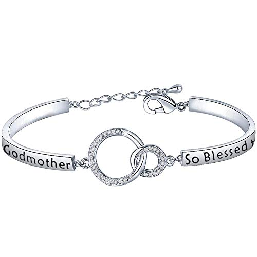 LQRI Godmother Bracelet So Blessed to Have You in My Life Interlocking Circles Bracelet Religious Jewelry Christening Baptism Gift for Godmother (Sliver)