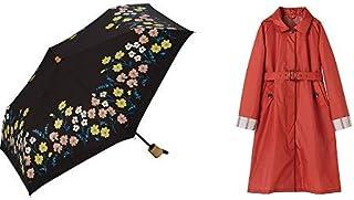 【セット買い】ワールドパーティー(Wpc.) 日傘 折りたたみ傘 黒 50cm レディース 傘袋付き フラワーベッドミニ 801-5918 BK+レインコート ポンチョ レインウェア  オレンジ  free  レディース 収納袋付き R-1090 OR