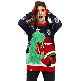 Unisex Mens Ugly Christmas Sweater Xmas Reindeer Pullover Sweaters for Women 8 1. CREATIVE FESTIVE INSPIRED UNISEX DESIGNS. Choose the perfect ugly funny Christmas sweater style to suit you. From classic Fair Isle and festive patterns to Cheeky Santa, Lit Reindeer and Naughty Elf. 2.SOFT QUALITY ACRYLIC COMFORT. Knitted with premium acrylic soft and gentle to the touch, our ugly funny Christmas pullover will keep you warm and cosy during the chilly festive holiday season. 3.VERSATILE SWEATER STYLE. We've designed our festive knitted Christmas jumper in a relaxed fit that's versatile for the occasion. Dress it up for a party or the office or keep it casual for relaxing at home.