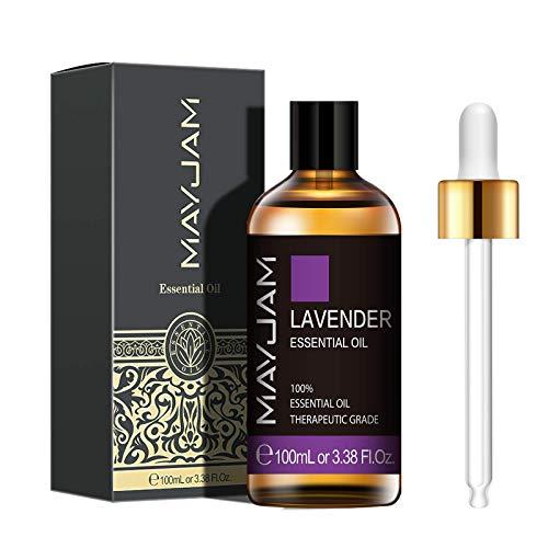 MAYJAM Aceites Esenciales de Lavanda 100 ml, 100% Aceites Esenciales Naturales Puros, Aceite Esencial de Aromaterapia de Grado Terapéutico, Aceites de Fragancia para Humidificador, Regalos Perfectos