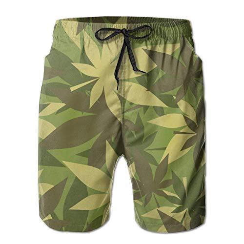 Zhengzho Herren Badehose Militär Marihuana Army Muster Surfing Beach Board Shorts Badebekleidung