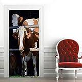 Adhesivo Puerta 3D Vaca Animal Etiqueta de la Puerta Autoadhesivo Vinilos Murales Carteles Pegatinas de Pared Diy Decoraciones para Puerta Sala de Baño Estar Dormitorio 95X215CM