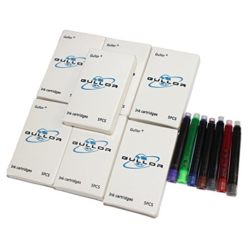Gullor 35 PCS International Size Pen Ink Cartridge to Fit Jinhao Fountain Pens, 7 Colors, 7 Packs