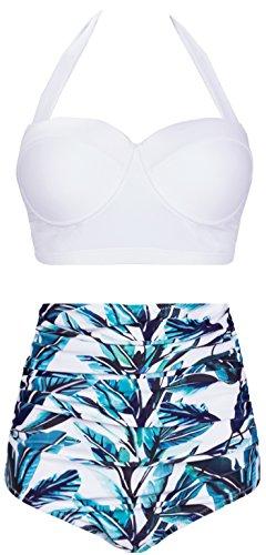 AMOURRI Womens Retro Vintage Polka Underwire High Waisted Swimsuit Bathing Suits Bikini (XXXXX-Large (fits Like US 16-18), White+Leaves)