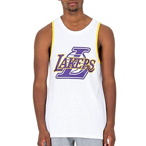 New Era NBA Double Logo Tank Loslak Whi Camiseta De Tirantes, Hombre, White, XL