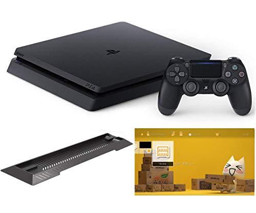 {PlayStation 4 ジェット・ブラック 500GB (CUH-2200AB01)【Amazon.co.jp限定】アンサー PS4用縦置きスタンド 付 & オリジナルカスタムテーマ 配信}