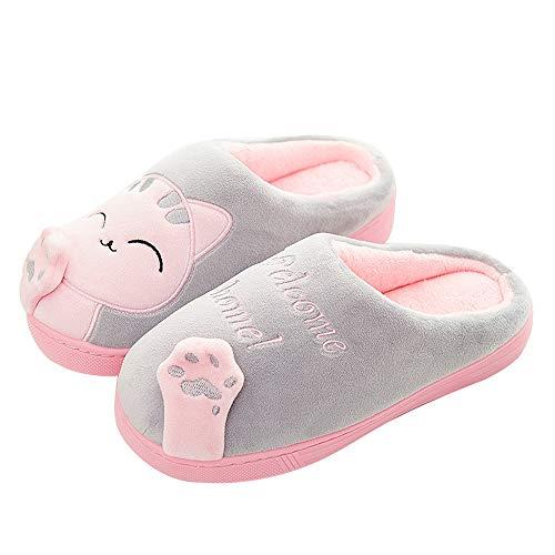 Antideslizantes para Hogar Lindo Gato Zapatos Zapatillas de Estar por casa para niño y niña 32/33 EU (Tamaño de Etiqueta 23) Gato-Gris