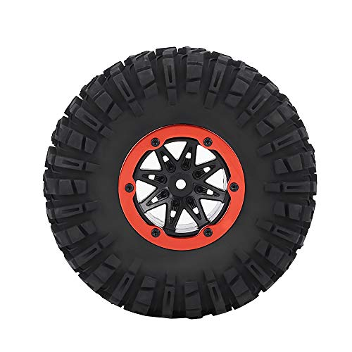 Drfeify RC Car Tires, Rubber Tyre Tires & Orange Plastic Hubs Wheel Compatible with RC Car Truck Crawler
