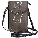 Lawenp Bolso bandolera de cuero pequeño con estampado de elefante abstracto,...