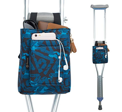 PACMAXI Crutch Bag Lightweight Crutch Storage Pouch with Clip Closure, Roomy Crutch Accessories Bag for Universal Uses (Blue Geometry)
